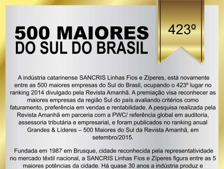 SANCRIS entre as 500 Maiores do sul - Revista Amanhã